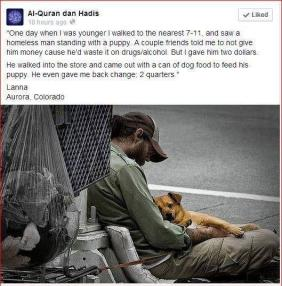 homeless man uses money to buy food for his dog, rather than money for drugs and alcohol