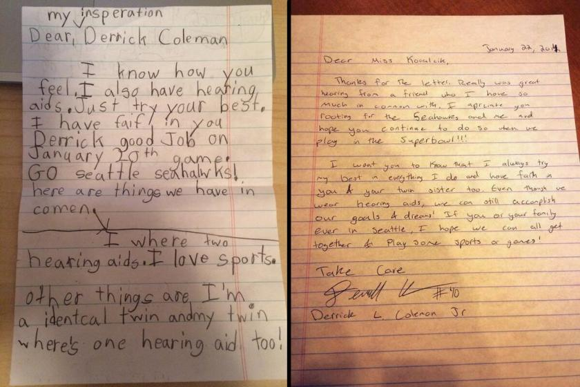 Hearing-impaired little girl writes to Seattle Seahawks FB Derrick Coleman