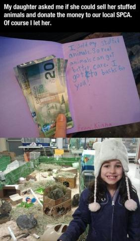 girl sacrificed her stuffed toy animals to save real animals