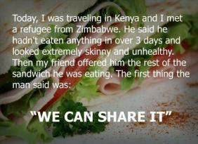refugee shows his kindness by offering to share a sandwich