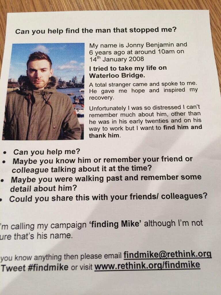 Finding Mike: Man searching for kind stranger who stopped him jumping off bridge