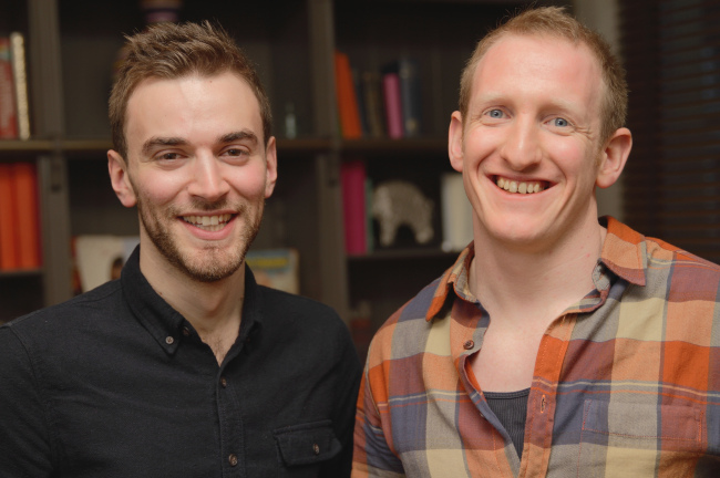 Jonny, left, with the man who he credits with saving his life, Neil (Picture: Rethink)