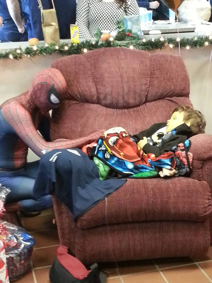 """He loved superheroes, firefighters, and had neuroblastoma. He began to decline rapidly and the firefighters threw him a party with Batman, Superman, and Spiderman. Spidey never left his side, not even for a second."""