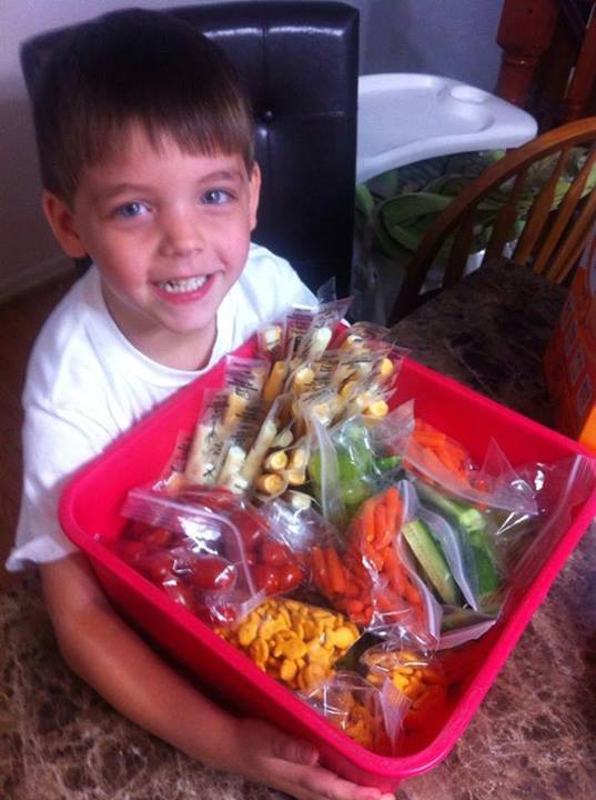 """My son said there's some kids in his class that don't eat their lunch. 'How come?' 'Because they don't have one, mommy. Can I bring them some of mine?' Totally his idea, and he helped pack it, too!"""