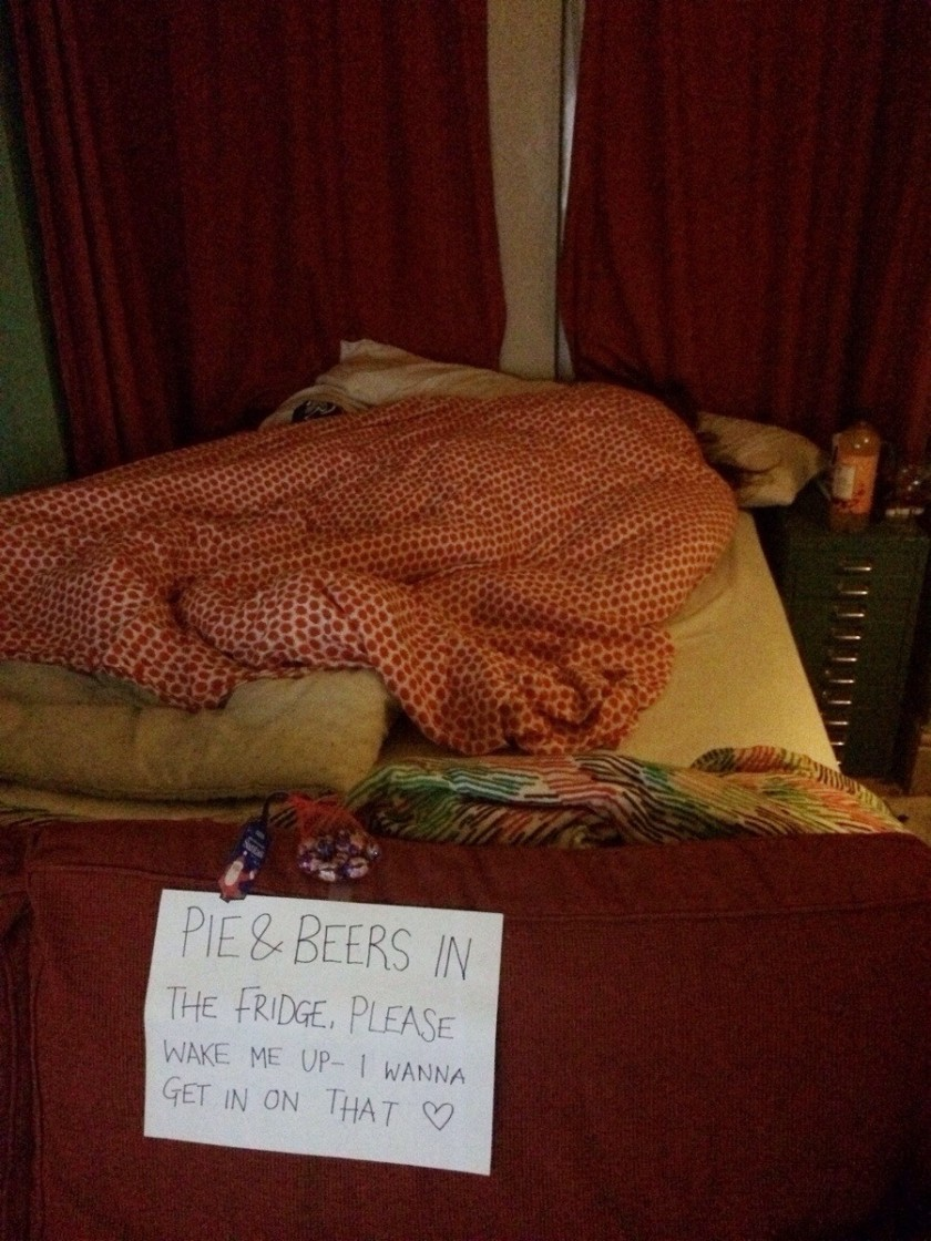 """Get home at midnight after a long shift at work and find my GF asleep with this note. She's definitely a keeper."""