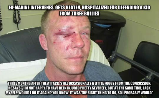 marine intervenes and saves someone from three bullies. severely injured