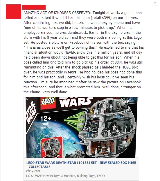 boss pays for his employees son to have an expensive lego set - random act of kindness
