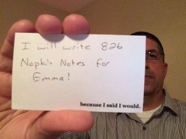 Her dad, Garth Callaghan, has written Emma notes on napkins for years