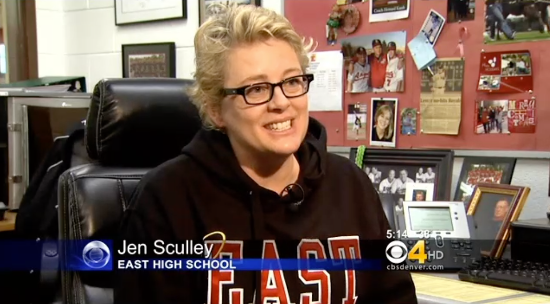 Jen Sculley; a physical education teacher at East High School in Denver, Colorado who is donating a kidney to a student in need.