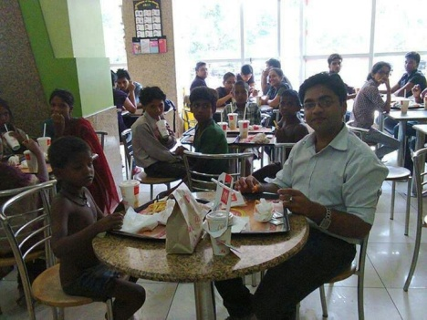 """This guy took some poverty-stricken children to McD with his first salary. Salute!"""
