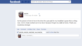 facebook status - random act of kindness
