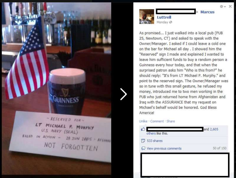 Pint of Guiness Reserved for LT michael P. Murphy