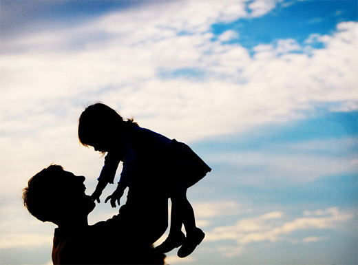 silhouette father child-