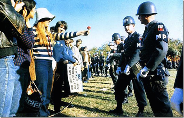 Arlington Virginia, 1967 – Flower Power during the Vietnam war protests.