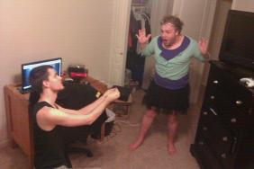 Good friend, helping a brother practice his proposal lines in his (hopefully) future wife's clothes while she's at work.