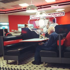 He went to Steak n Shake with his wife every year for valentine's day since before he was married. This is his first year without a valentine.