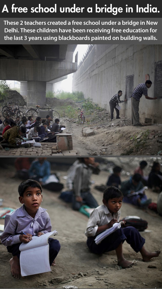 School under bridge in India