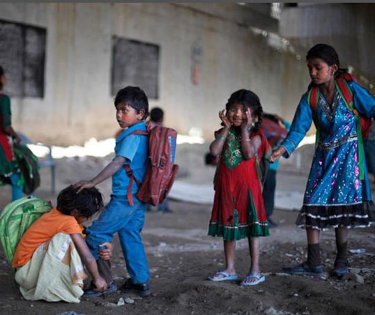 School under bridge in India