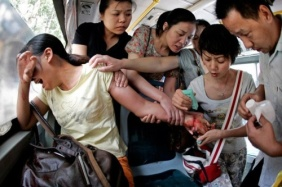 Public Bus Passengers Try to Save a woman Who Tried to Commit Suicide by Slitting her Wrist