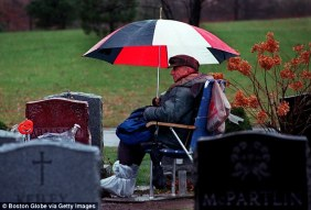 : Rocky 'Roque' Abalsamo has sat by the grave of his wife, Julita, at St. Joseph's Cemetery in Boston since she died in 1993. On January 22 he passed away