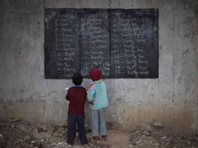 School under bridge in India6