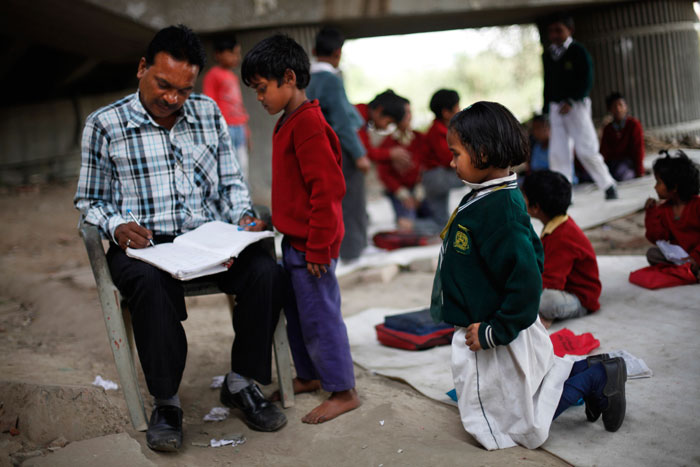 School under bridge in India3
