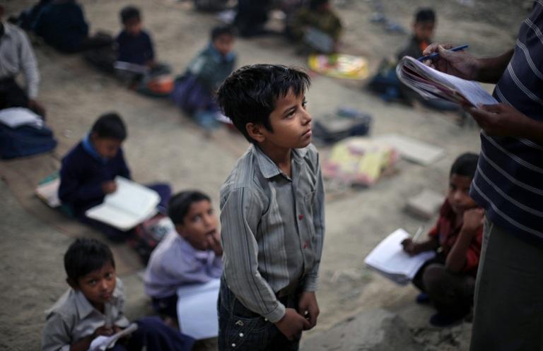 School under bridge in India4