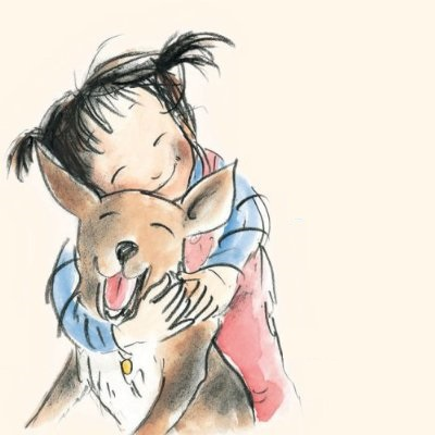 little girl cuddling a dog