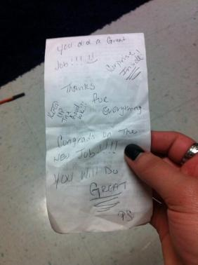 A Sweet Note and Tip Left for a Waitress