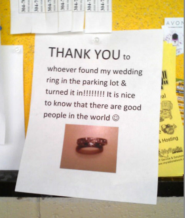 lost ring is returned - kindness