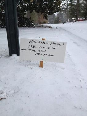 free coffee in the snow - kindness