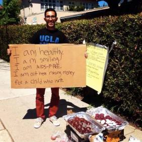 Awesome dude seen yesterday selling cupcakes outside a farmer's market in LA. So great to see people doing good for the world on a normal day!
