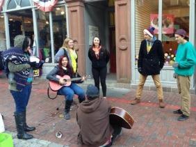 random people jamming on the street