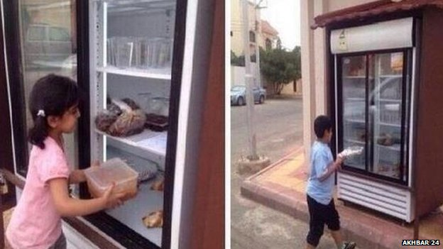 A man in the Saudi city of Hail has put a fridge outside his house and called on neighbours to fill it with food for the needy, it seems. The man, who prefers to remain anonymous, told neighbours this would spare poor people the 'shame' of asking for food, the Gulf News newspaper reports.
