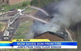 Selfless: Christina Simoes leaped from a second-floor balcony with her son Camron, right, in her arms k