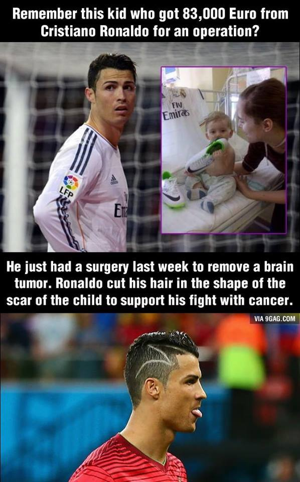 Cristiano Ronaldo's zig-zag hair is 'tribute to child with cancer'
