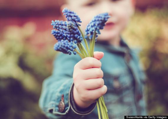 Boy (2-3) holding blue flowers