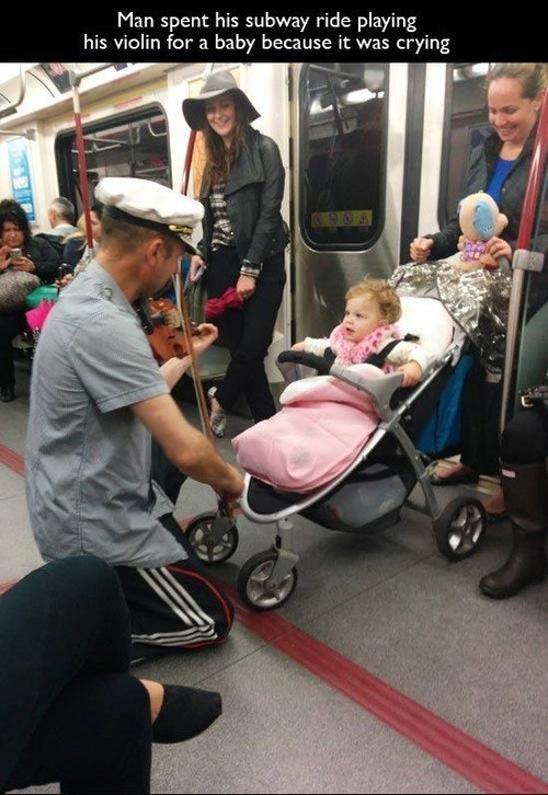 Subway Musician and the Crying Baby