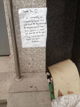 Ex-Homeless Man Matthew's Thank-You Note