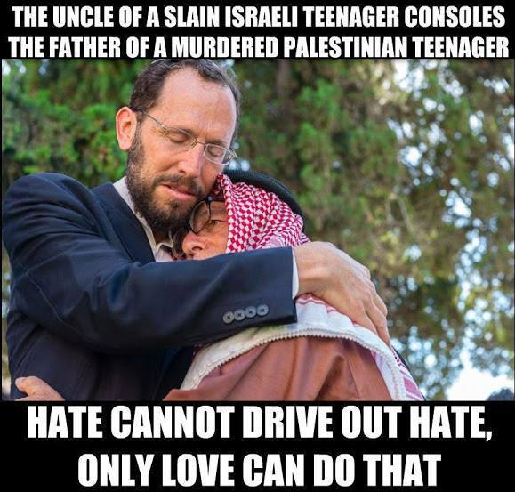 israeli and palestinian fathers embrace