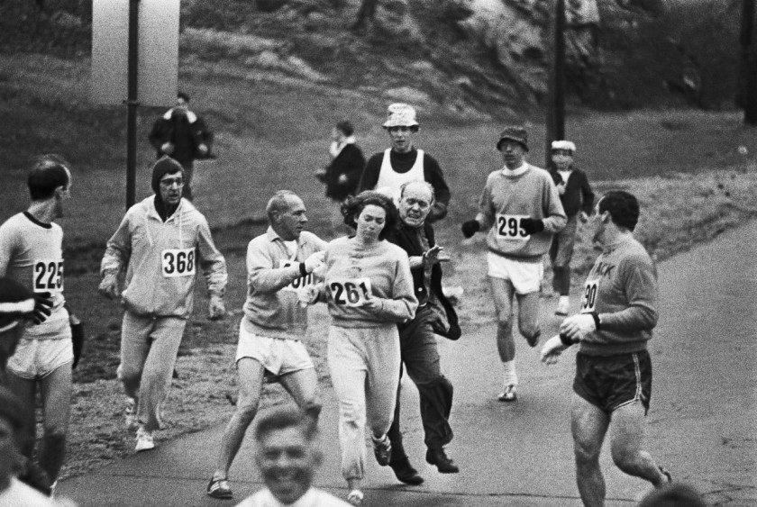 After realizing a woman was running Boston marathon organizer Jock Semple went after Kathrine Switzer. Other runners blocked him and she went on to finish the race. 1967.