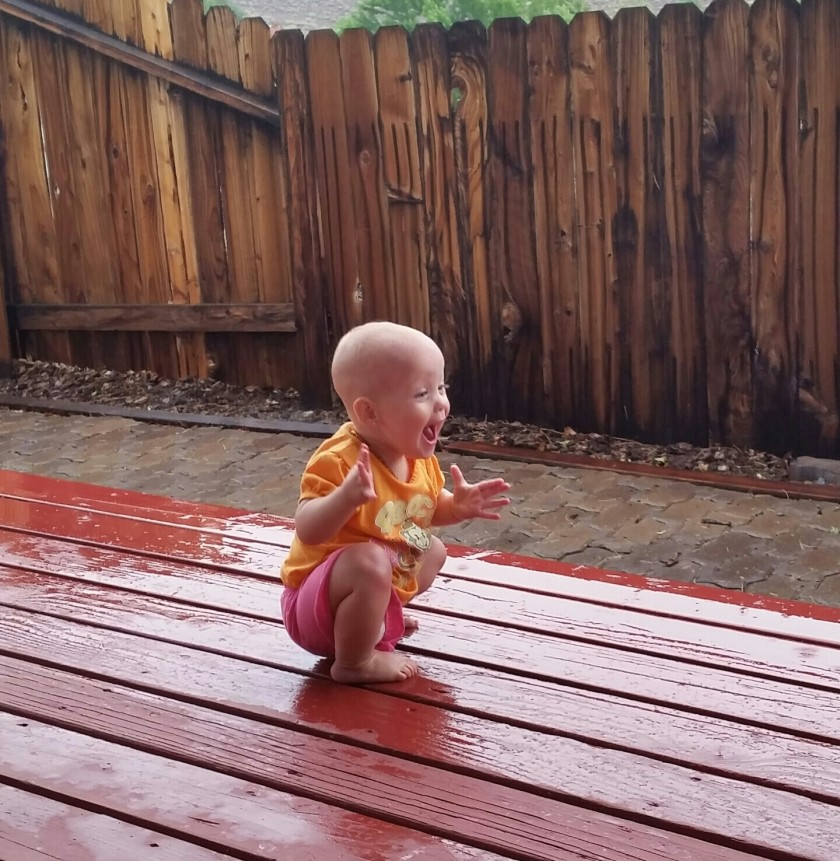 A Little Girl's First Experience of Rain