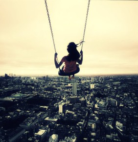 city,panorama,city,swing,girl,atmosphere,photo