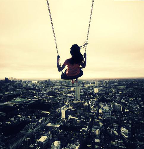 city,panorama,city,swing,girl,atmosphere,photo