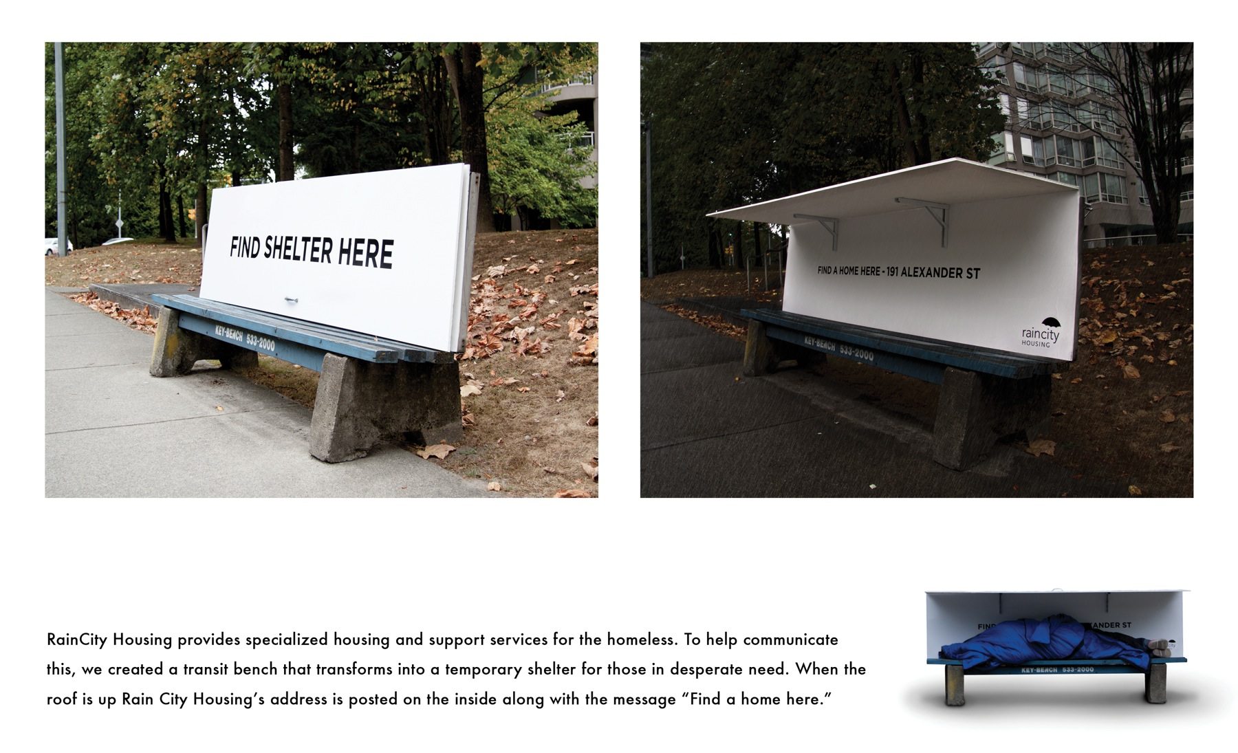 Homeless Shelter Pop Up : A bench for sitting and shelter kindness