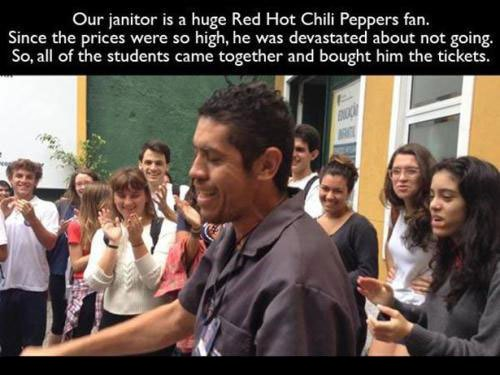 janitor gets tickets for red hot chilli peppers