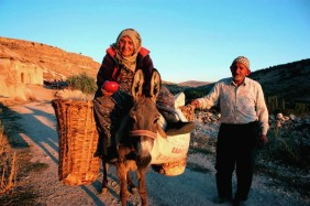 Photo and caption by M. Meulmester While traveling through Anatolia last year, we resided for a few days in a remote cave-dwelling village near Kapadoyka. My sister and I were sauntering around the streets around sunset when we met these kind, smiling strangers and their donkey. After exchanging trying several languages to say hello, we finally able to find a common tongue in German surprisingly. This elderly couple who wore traditional Anatolian garb seemed untouched by the nearby cosmopolitan world of Istanbul and offered us more freshly picked tomatoes than we could hold. Truly an amazing one of a kind experience. Location: Village near Kapadokyia,Central Anatolia, Turkey.