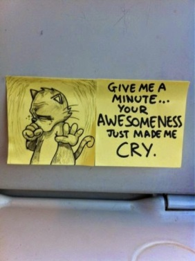 Motivational Post-it Notes on Trains