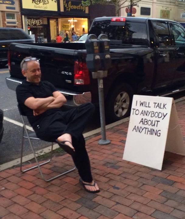 Attached is a picture of Lenny. He sits here in Red Bank NJ every Saturday night with this sign