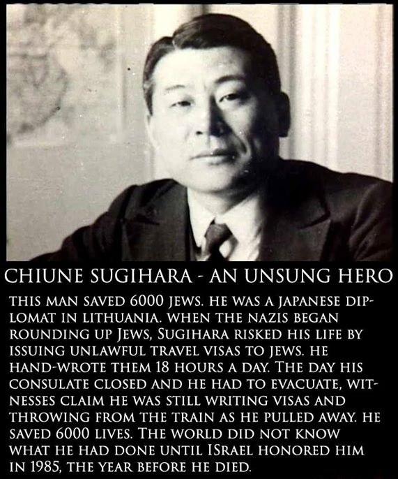 Chiune Sugihara (杉原 千畝 Sugihara Chiune?, 1 January 1900 – 31 July 1986